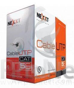 Bobina UTP Nexxt Cat 5e 305 metros. El cable UTP Nexxt categoría 5E, compuesto de 4 pares de hilos de cobre trenzados, calibre 24 (AWG), ha sido concebido para máxima velocidad en aplicaciones de transmisión de datos.